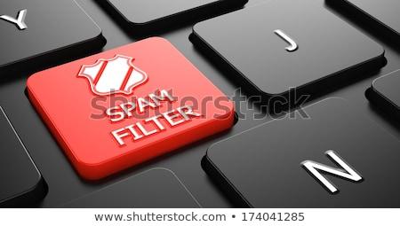 Spam szűrő piros billentyűzet gomb pajzs Stock fotó © tashatuvango