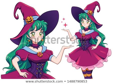 Хэллоуин Манга ведьмой девушки Cute Hat Сток-фото © Ansy