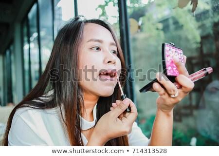Mulher lábios pormenor feminino pintado escove Foto stock © maros_b