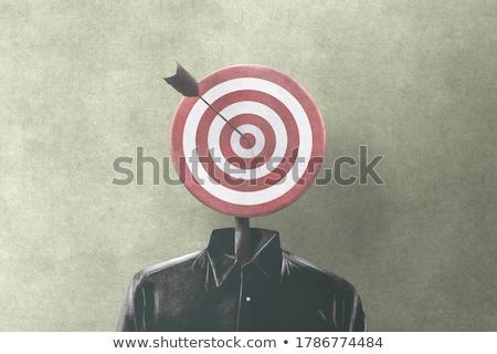 pistool · hoofd · bange · man · papier · gezicht - stockfoto © mizar_21984