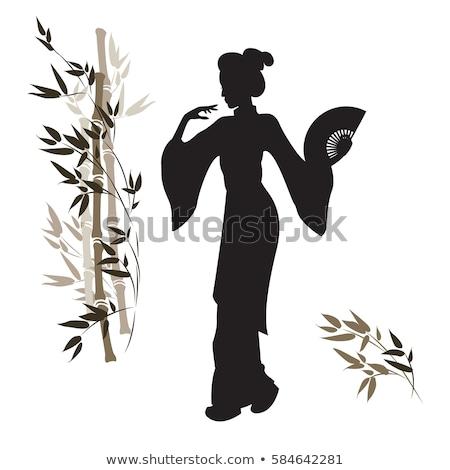 Hermosa baile geisha primavera cara danza Foto stock © Nejron