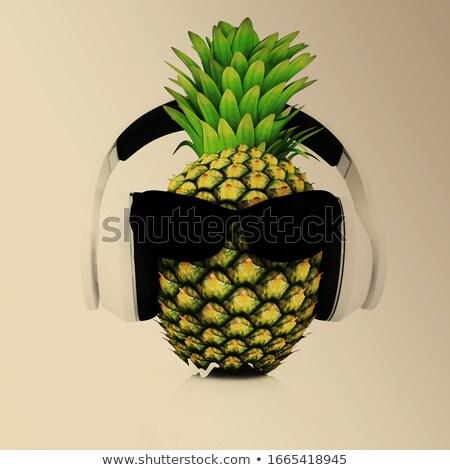 Ananas zon glas hoofdtelefoon gezicht Stockfoto © Guru3D