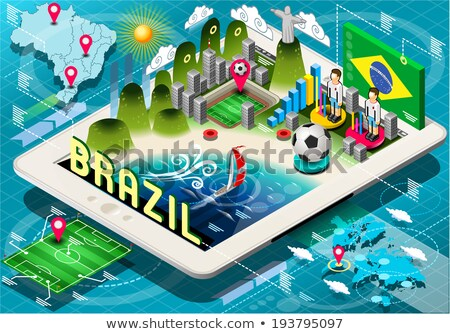 Brazil soccer championship tablet infographic Stock photo © cienpies