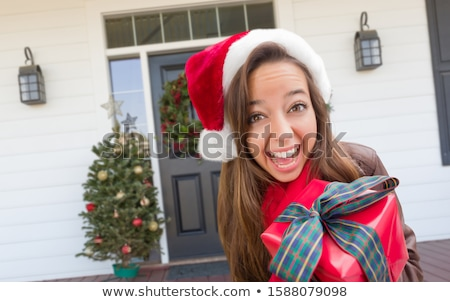 young girl holding wrapped present in front of christmas tree stock photo © monkey_business