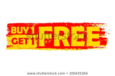 buy one get one free, yellow and red drawn label Stock photo © marinini