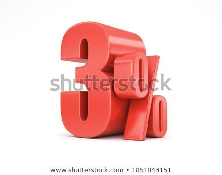 3D · красный · пятьдесят · три · процент · белый - Сток-фото © make