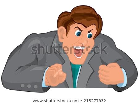 Cartoon man torso grijs pak schreeuwen Stockfoto © Zebra-Finch