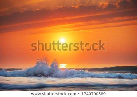Waves rolling to shore at sunset Stock photo © Komar