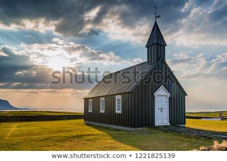 solitario · iglesia · campo · puesta · de · sol · lluvia · nube - foto stock © alexeys