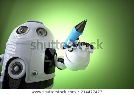 Robot writing, drawing on the screen. Contains clipping path Stock photo © Kirill_M