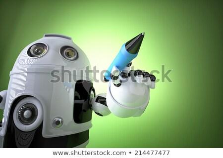 robot · kalem · 3d · render · yazı · imzalamak · gelecek - stok fotoğraf © kirill_m