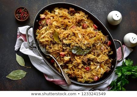 repolho · tigela · tabela · carne · gordura · vegetal - foto stock © yelenayemchuk