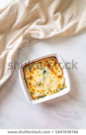 Espinafre lasanha queijo de cabra comida vegetariana prato Foto stock © tilo