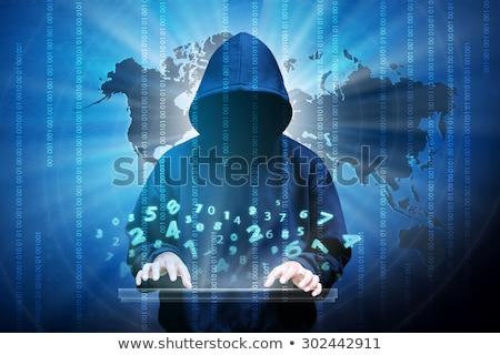 Kapucnis anonim számítógép hacker hozzáférés programozás Stock fotó © stevanovicigor
