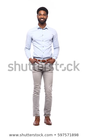Full-length portrait of a thoughtful businessman isolated on a white background Stock photo © deandrobot