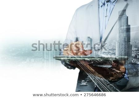 Onroerend geïsoleerd witte business meisje gebouw Stockfoto © fantazista