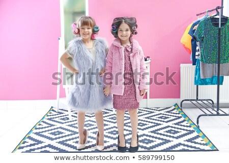 девушки · платье · глядя · зеркало · счастливым - Сток-фото © dashapetrenko