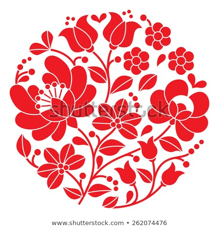 Kalocsai red embroidery in circle - Hungarian floral folk pattern   Stock photo © RedKoala