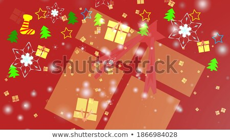 Photo stock: Rouge · flocons · de · neige · blanche · arbres · design