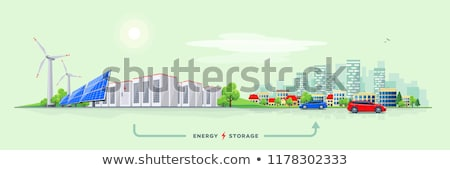 Cityscape with wind power station Stock photo © cherezoff