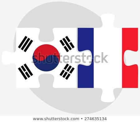 Coréia do Sul França bandeiras quebra-cabeça vetor imagem Foto stock © Istanbul2009