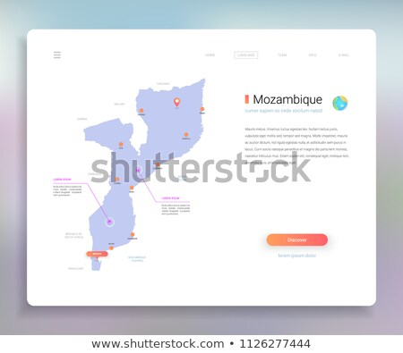 orange button with the image maps of Mozambique Stock photo © mayboro