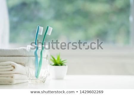 Green toothbrush on white background Stock photo © BSANI