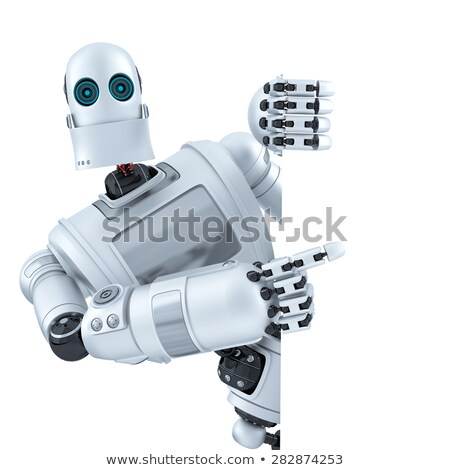 Robot pointing on banner. Isolated. Contains clipping path Stock photo © Kirill_M