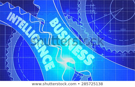business intelligence on the gears blueprint style stock photo © tashatuvango