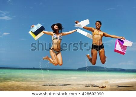 Foto stock: Feliz · mulher · biquíni · praia · pessoas