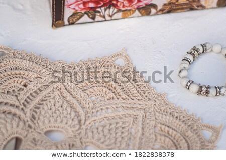 Bege algodão renda branco abstrato Foto stock © RuslanOmega