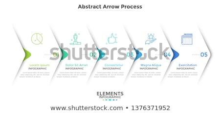 Photo stock: Progrès · icônes · cinquième · étapes · vecteur · papier