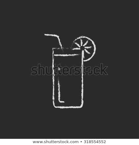 glas · vers · sinaasappelsap · drinken · stro · voedsel - stockfoto © rastudio
