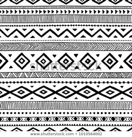 Foto stock: Vector · sin · costura · resumen · tribales · patrón · dibujado · a · mano