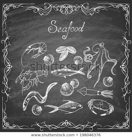 squid icon drawn in chalk stock photo © rastudio