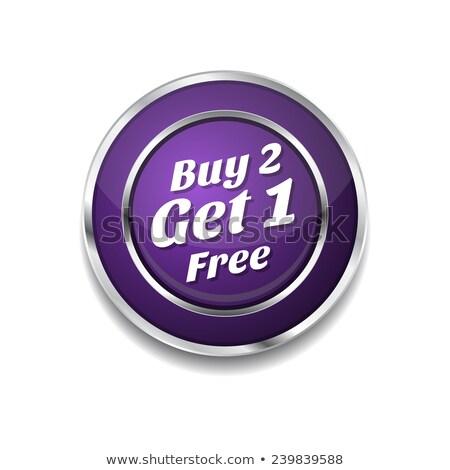Buy 2 Get 1 Free Purple Circular Vector Button Stock photo © rizwanali3d