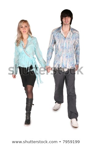 girl in cyan blouse and boy go on white Stock photo © Paha_L