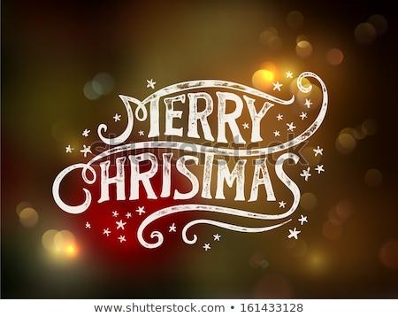 neşeli · Noel · matbaacılık · el · yazısı · kar · tanesi · vektör - stok fotoğraf © rommeo79