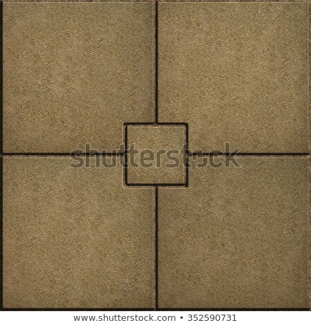 Sand Color Paving Slabs in the form of Small Brick Surrounded Four Large Square. Stock photo © tashatuvango