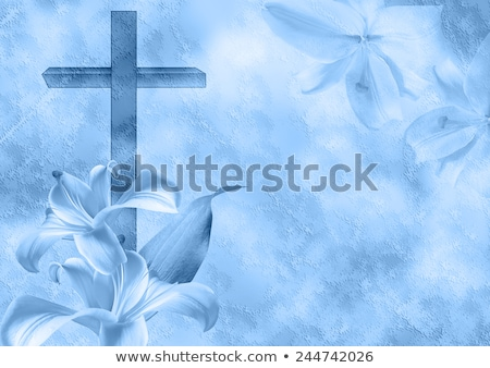 Crucifix and flowers religious background Stock photo © marimorena