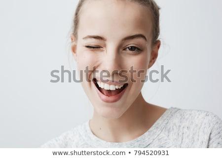 Fiatal flörtöl diák női izolált fehér Stock fotó © Elnur