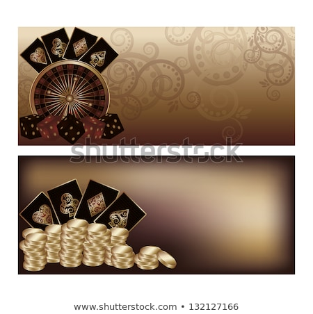 two vintage casino poker banners vector illustration stock photo © carodi