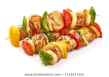 Tyúk zöldség nyárs pesztó mártás étel Stock fotó © Digifoodstock