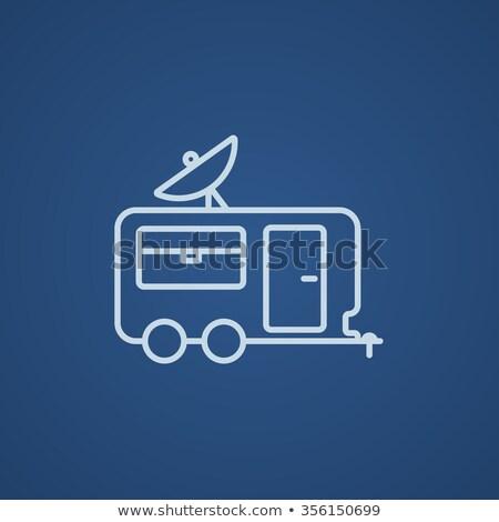 caravana · linha · ícone · teia · móvel - foto stock © rastudio