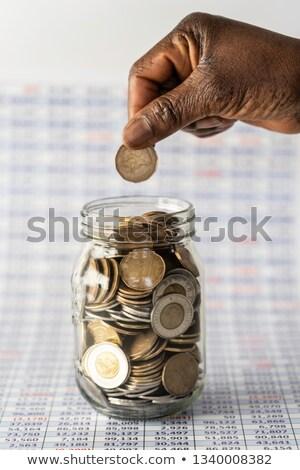монетами · доллара · монеты · белый · деньги · фон - Сток-фото © stockfrank