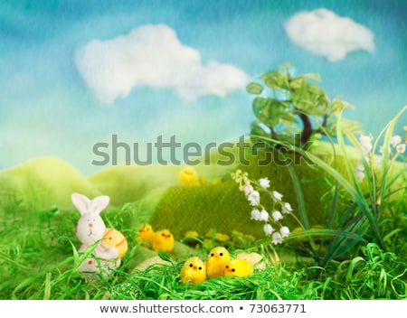 Stock photo: easter bunny and chicken figurines