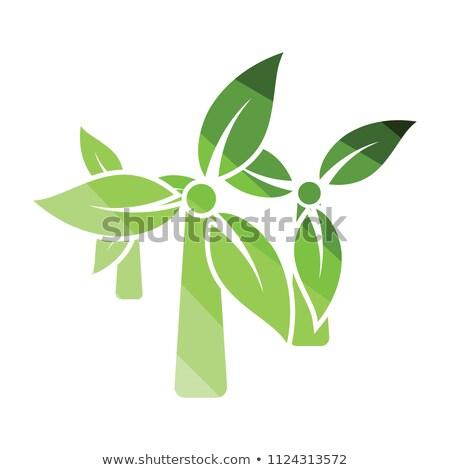 ветер · мельница · листьев · икона · серый · зеленый - Сток-фото © angelp