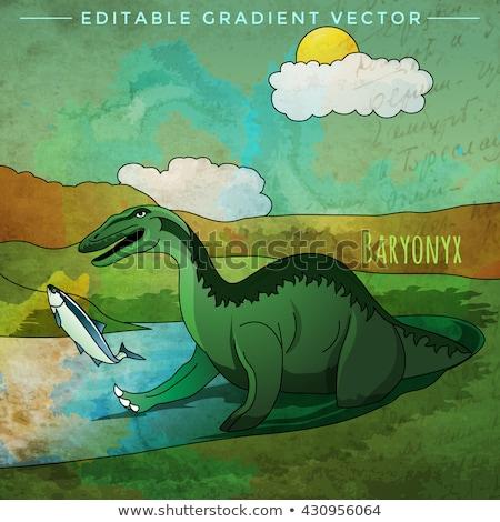 динозавр среда обитания иллюстрация рыбы пейзаж фон Сток-фото © ConceptCafe