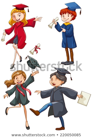 a simple drawing of a happy girl graduating stock photo © bluering