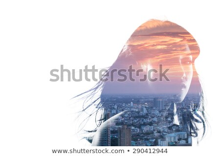 Double exposure effect of beautiful young brunette woman with a  Stock photo © zurijeta